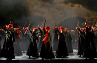 Members of the Royal Opera Chorus as The Witches in Act I of the Royal Opera revival of Macbeth (2002) by Giuseppe Verdi (1813-1901), directed by Phyllida Lloyd (revival direstor Harry Fehr) with set and costume designs by Anthony Ward and lighting design by Paule Constable. Performed at the Royal Opera House, Covent Garden on 21 May 2011. ARPDATA ;  MACBETH ;  Music by Verdi ;  Directed by Lloyd ;  Designs by Ward ;  Members of the Royal Opera Chorus (as The Witches) ;   The Royal Opera ;  At the Royal Opera House, London, UK ;  21 May 2011 ;  Credit: Clive Barda /  Royal Opera House / ArenaPAL